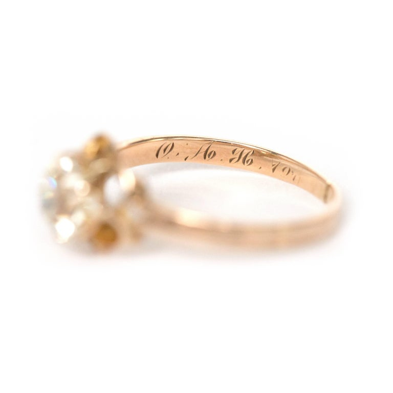 1890s Victorian 1.05 Carat Diamond 14 Karat Yellow Gold Engagement Ring For Sale 2