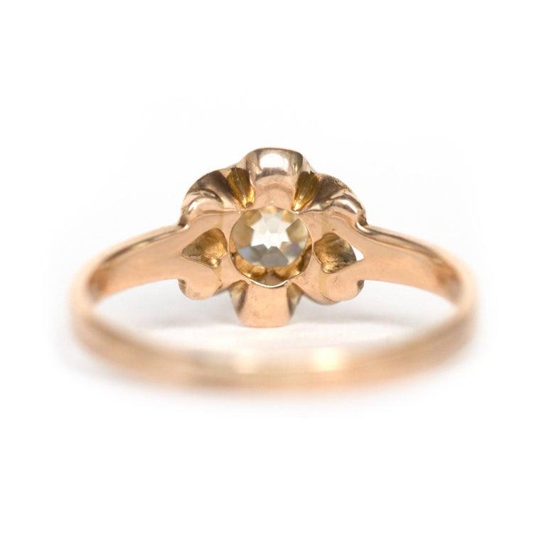 Women's 1890s Victorian 1.05 Carat Diamond 14 Karat Yellow Gold Engagement Ring For Sale
