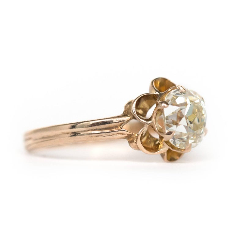 1890s Victorian 1.05 Carat Diamond 14 Karat Yellow Gold Engagement Ring In Excellent Condition For Sale In Hicksville, NY