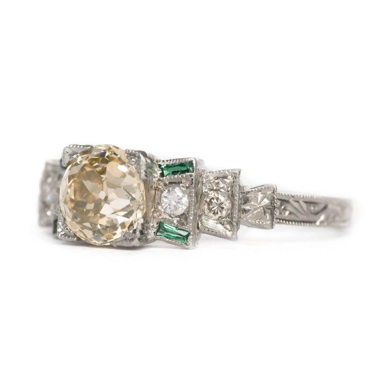 1920 deco 18 karat gold 1 14 carat and emerald