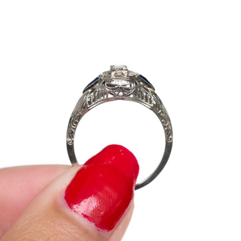 05 carat 18 karat white gold and sapphire