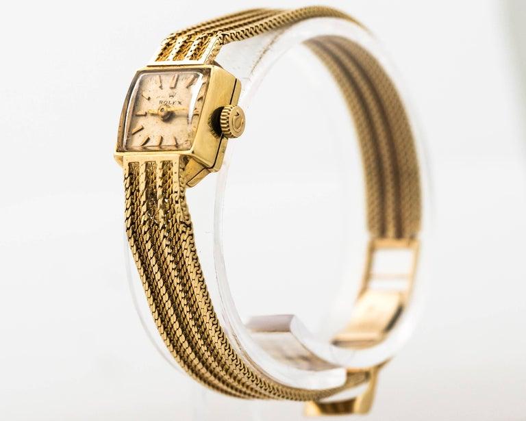 Retro 1950s Rolex 14K Yellow Gold Ladies Wrist Watch For Sale