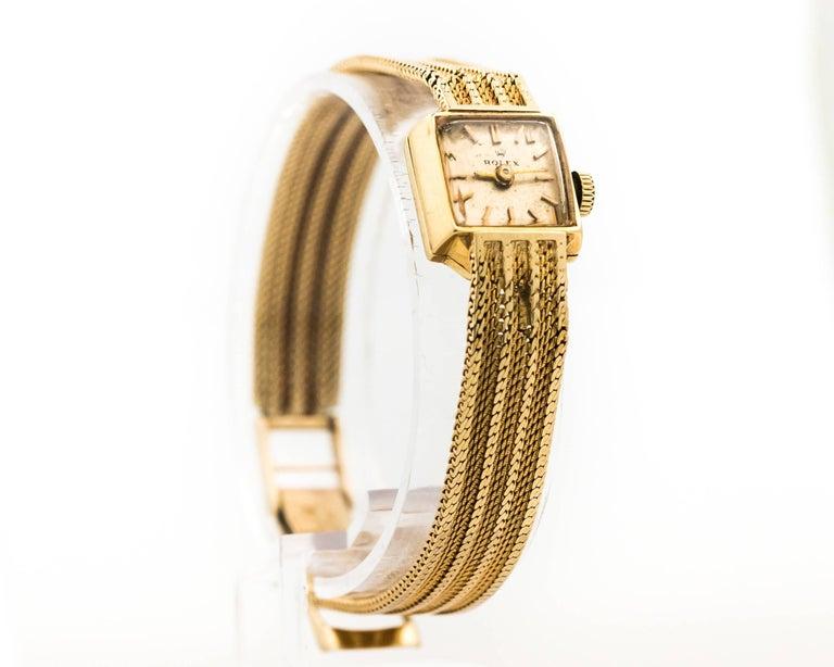 Women's 1950s Rolex 14K Yellow Gold Ladies Wrist Watch For Sale