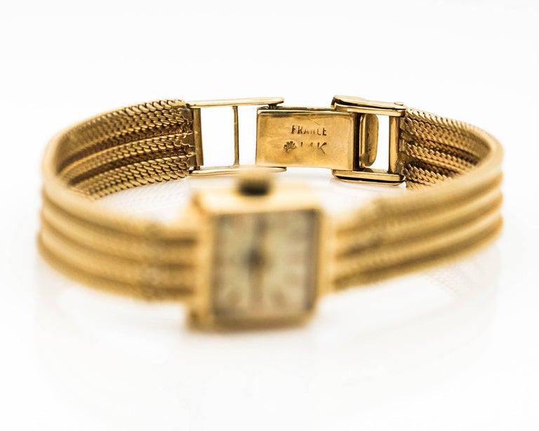 1950s Rolex 14K Yellow Gold Ladies Wrist Watch For Sale 2