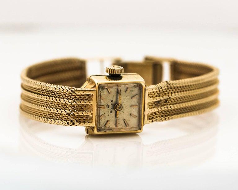 1950s Rolex 14K Yellow Gold Ladies Wrist Watch For Sale 3