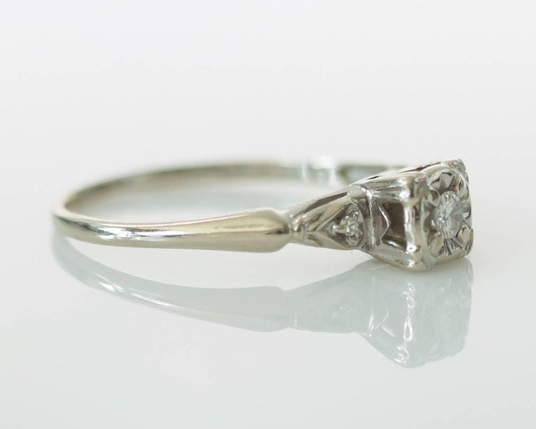 1940s Vintage 02 Carat Diamond And 14k Gold Engagement