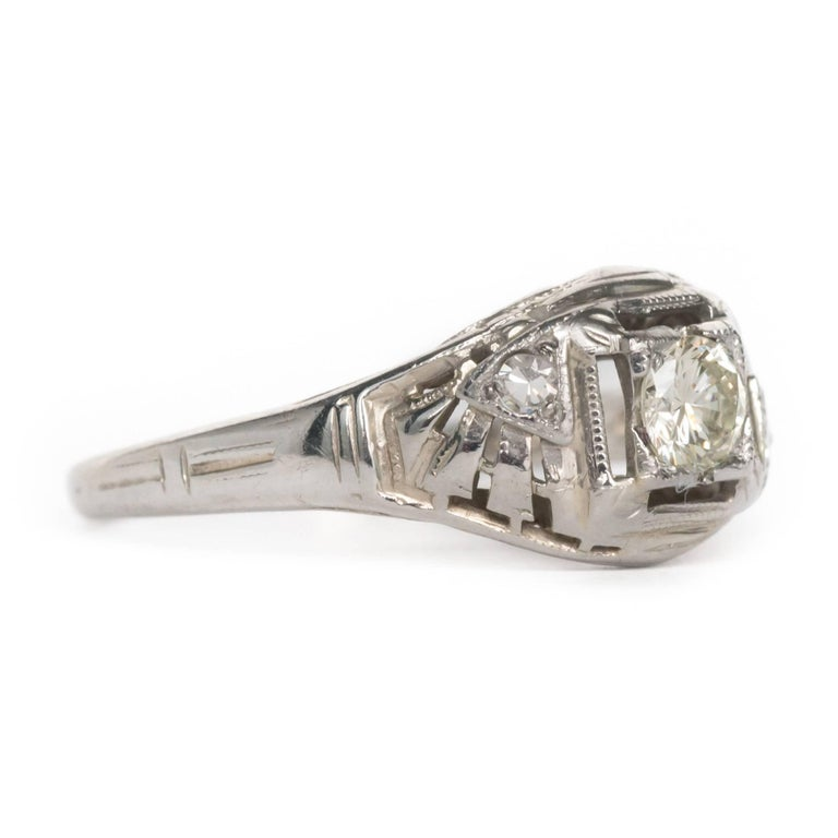 Edwardian .20 Carat Diamond White Gold Engagement Ring For Sale
