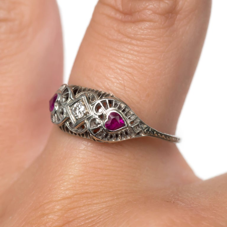 04 Carat Bands: .04 Carat Diamond And Ruby White Gold Engagement Ring For