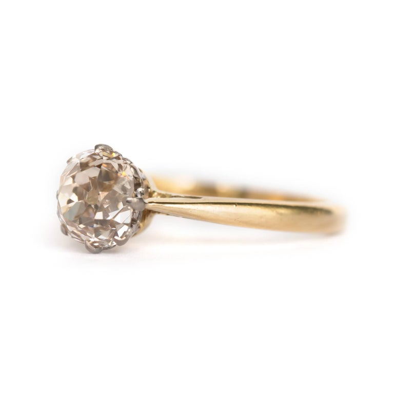 Item Details:  Ring Size: Approximately 7.85 Metal Type: 14 Karat Yellow Gold Weight: 3.5 grams  Center Diamond Details: Shape: Old Mine Cushion Cut Carat Weight: 1.51 carat Color: Light Brown (Cinnamon color) Clarity: SI2  Finger to Top of Stone