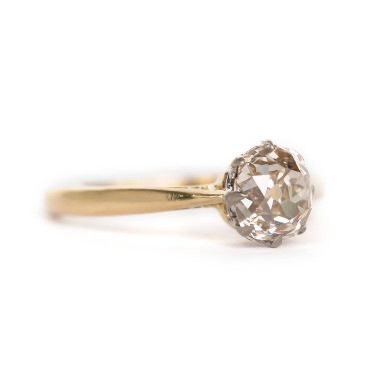 Late Victorian 1.51 Carat Diamond 14 Karat Yellow Gold Engagement Ring For Sale