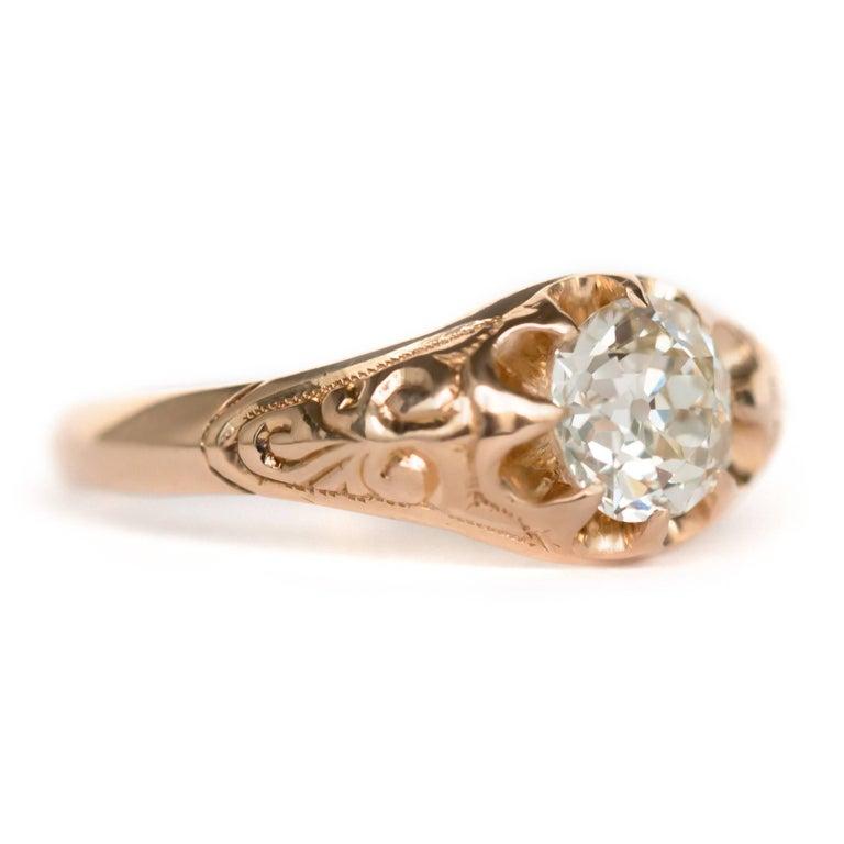 Victorian .83 Carat Diamond 14 Karat Yellow Gold Engagement Ring For Sale