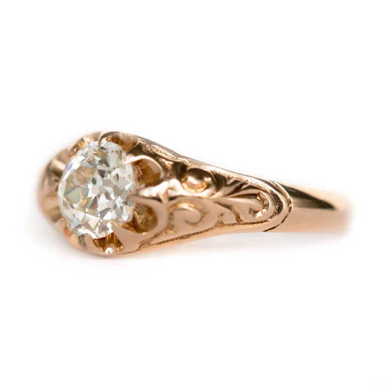 Item Details:  Ring Size: Approximately 8.10 Metal Type: 14 Karat Yellow Gold Weight: 3.2 grams  Center Diamond Details: Shape: Antique Cushion Carat Weight: .83 carat Color: J Clarity: VS1  Finger to Top of Stone Measurement: 3.24mm