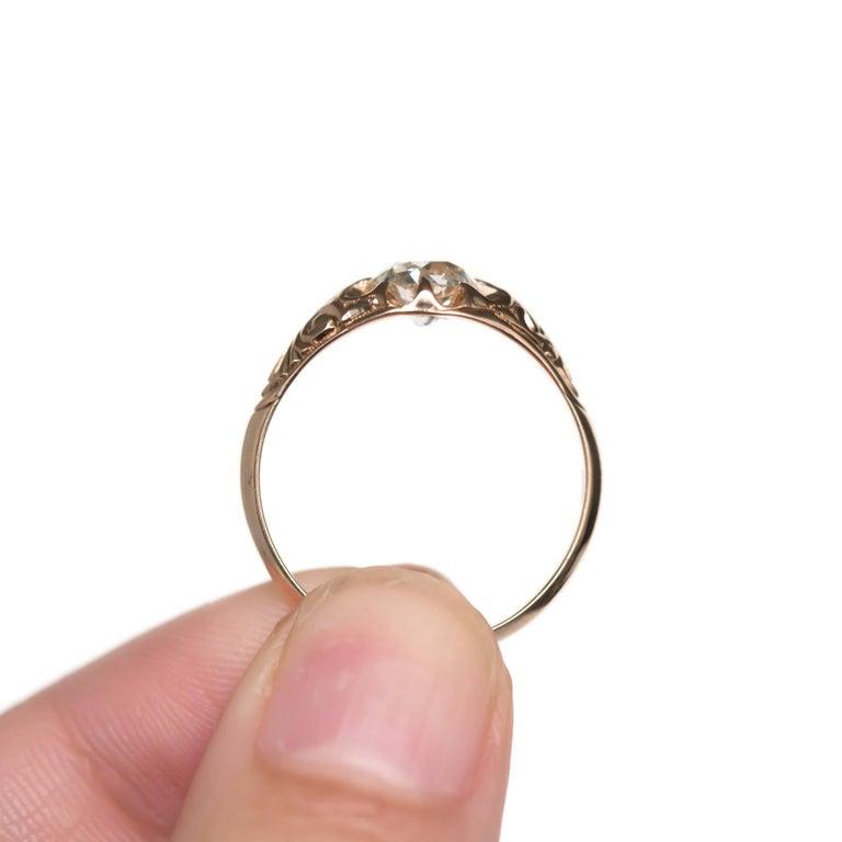 Women's .83 Carat Diamond 14 Karat Yellow Gold Engagement Ring For Sale