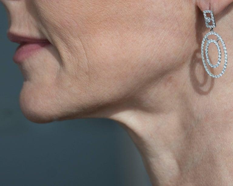 Modern 2 Carat Diamond and 18K White Gold Oval Chandelier Earrings For Sale
