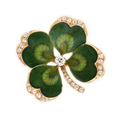 1910 Edwardian 4 Leaf Clover Brooch with Diamonds, Yellow Gold, Enamel