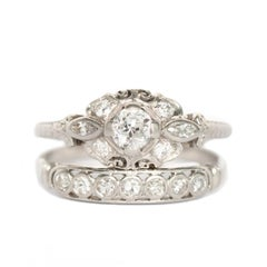 .20 Carat Diamond Platinum Engagement Ring and Wedding Band Set