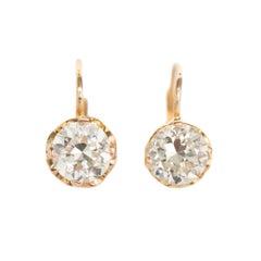 1.95 Carat Total Weight Yellow Gold Diamond Earrings