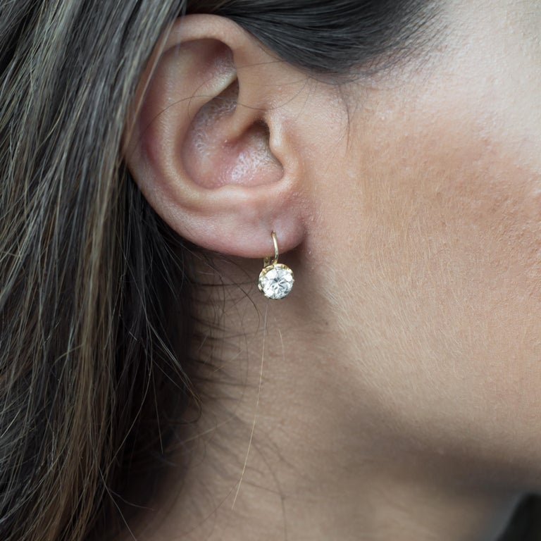 1 95 Carat Total Weight Yellow Gold Diamond Earrings For 2