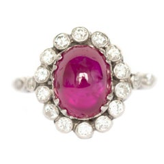 3.50 Carat Ruby Platinum Engagement Ring