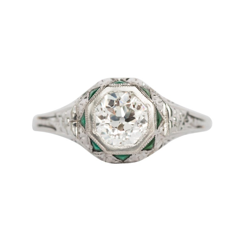 Diamond and Emerald White Gold Engagement Ring