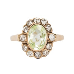 1.25 Carat Peridot Yellow Gold Engagement Ring