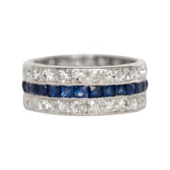 1.25 Carat Total Weight Sapphire Platinum Wedding Band