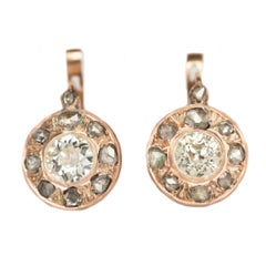 .80 Carat Diamond Yellow Gold Earrings