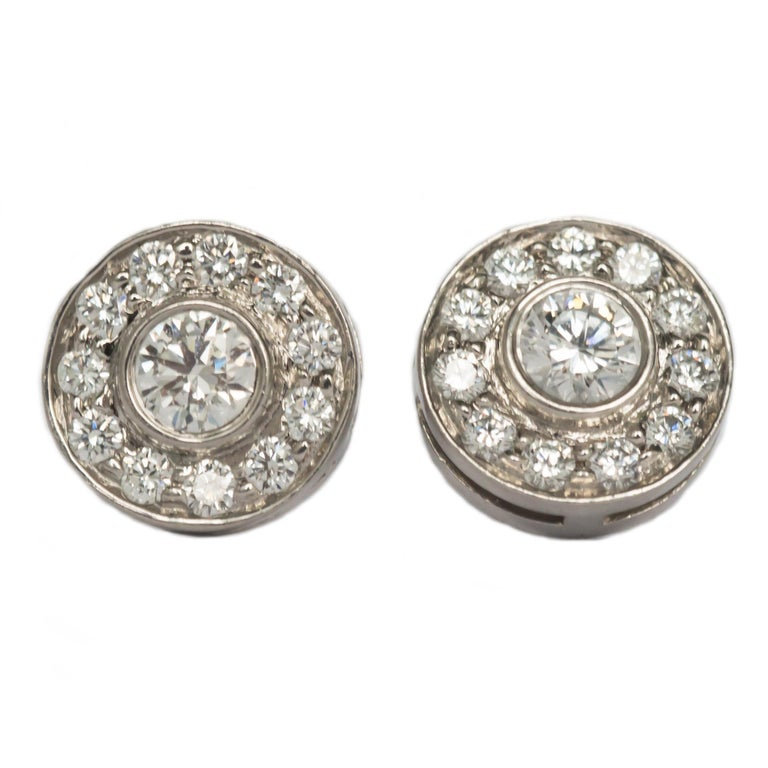 .53 Carat Total Weight Platinum Tiffany & Co. Earrings For Sale