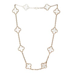 Van Cleef & Arpels Yellow Gold Alhambra Mother of Pearl Necklace