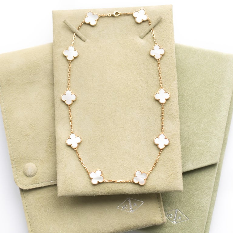 Van Cleef And Arpels Mother Of Pearl Necklace: Van Cleef And Arpels Yellow Gold Alhambra Mother Of Pearl