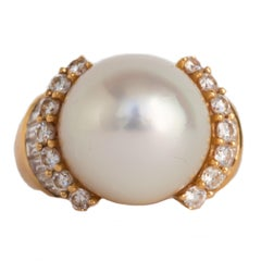 Yellow Gold Pearl Cocktail Ring