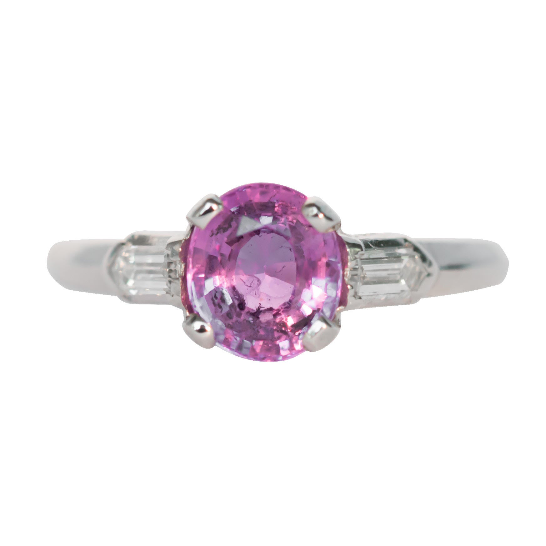 GIA Certified 1.20 Carat Purple-Pink Sapphire Platinum Engagement Ring