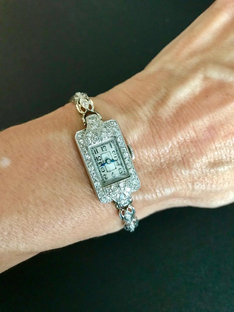 1884 Victorian Ladies White Gold Diamond Wristwatch For Sale 5