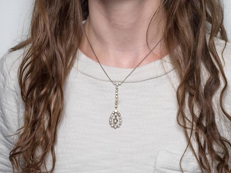 Rose Cut Art Deco 4 Carat Diamond Pearl and 14 Karat Two-Tone Gold Drop Necklace For Sale