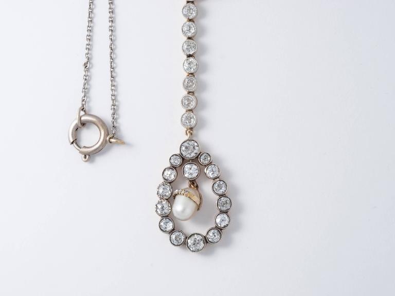 Women's Art Deco 4 Carat Diamond Pearl and 14 Karat Two-Tone Gold Drop Necklace For Sale
