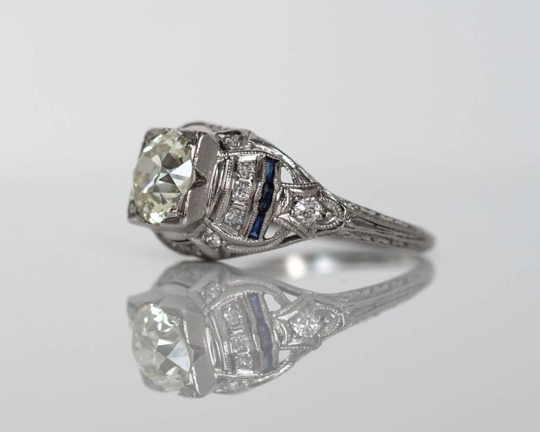 1920s deco 1 40 carat european sapphire platinum engagement ring for sale at 1stdibs