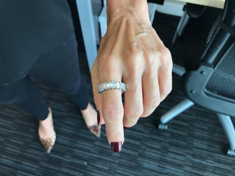 10 Carat Emerald-Cut Diamonds Platinum Eternity Band Ring For Sale 4