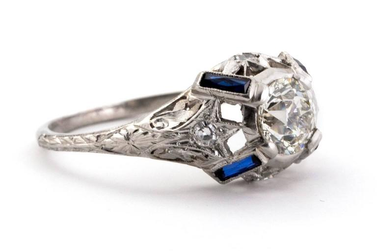 blue diamond wedding ring 1925 deco platinum 1 00 carat engagement ring 1925
