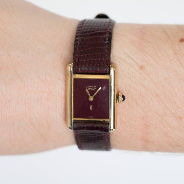 Cartier yellow gold silver vermeil Must de Cartier Tank Manual Wristwatch, 1977  2