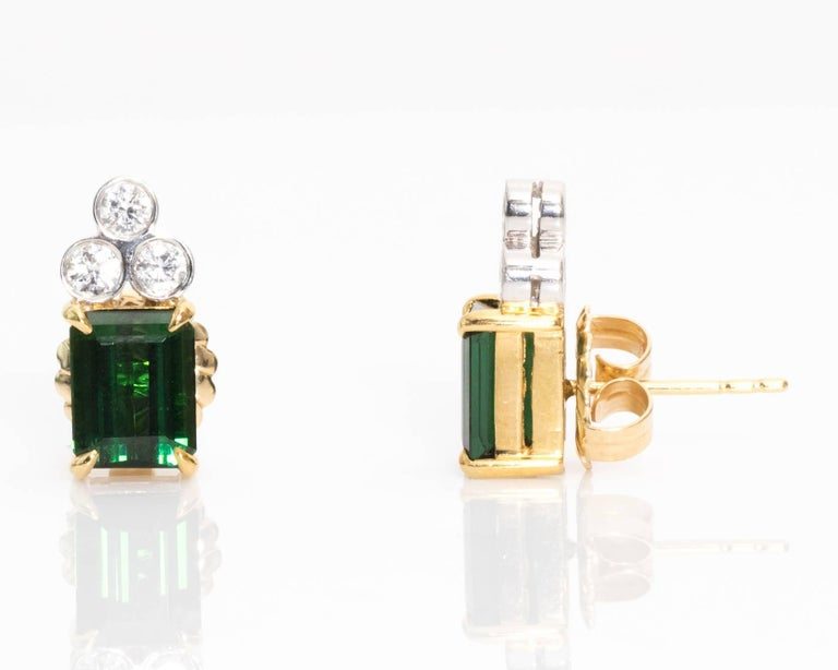 Modern 1980s Green Tourmaline and Diamond Earrings For Sale
