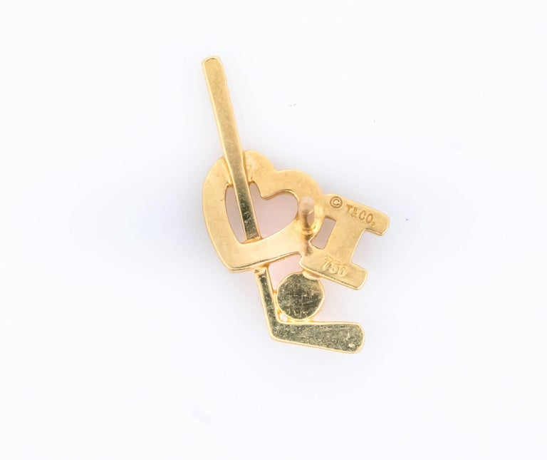 Modern Tiffany & Co. 18K Gold and Diamond I Love Golf Lapel Pin For Sale