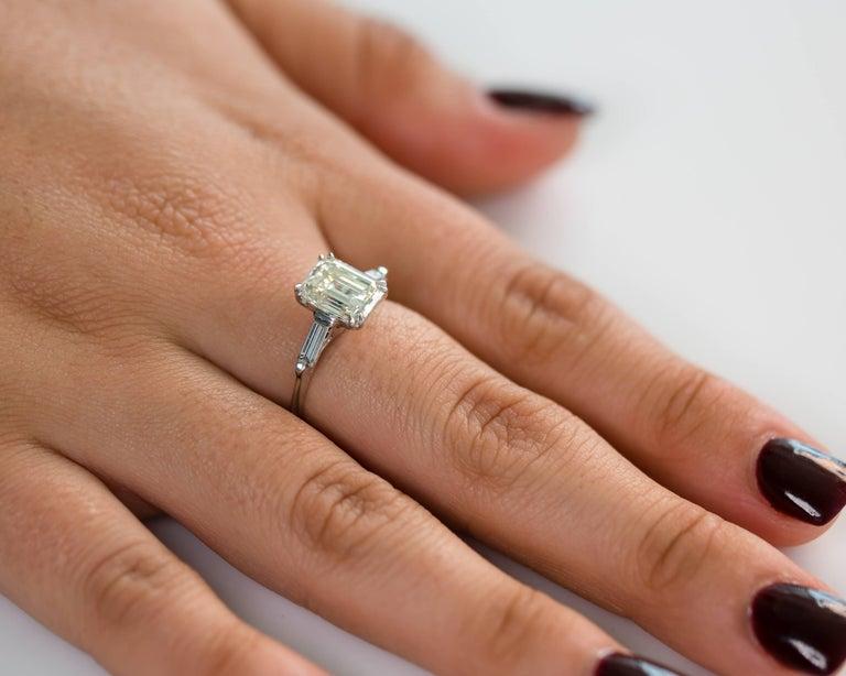 0f2c022fa241a1 1960s Gia Certified 2 27 Carat Emerald Cut Diamond Enement Ring