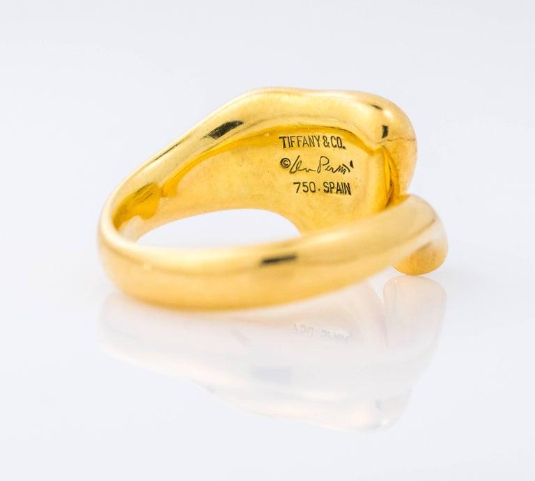 Modern Tiffany & Co. Elsa Peretti Open Heart Diamond and 18K Gold Ring For Sale