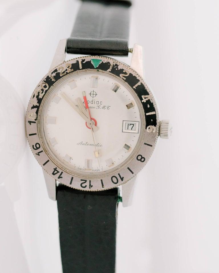 Retro 1950s Zodiac Aerospace GMT Stainless Steel Wristwatch For Sale