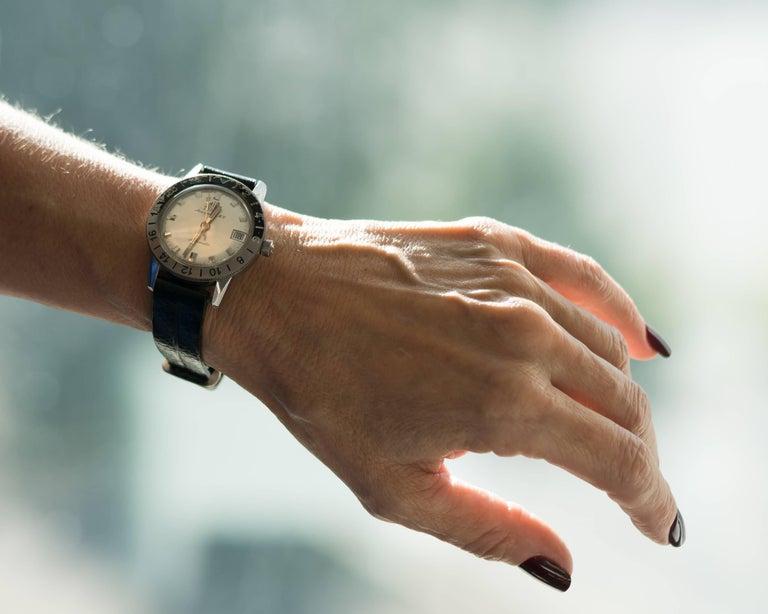 1950s Zodiac Aerospace GMT Stainless Steel Wristwatch For Sale 2
