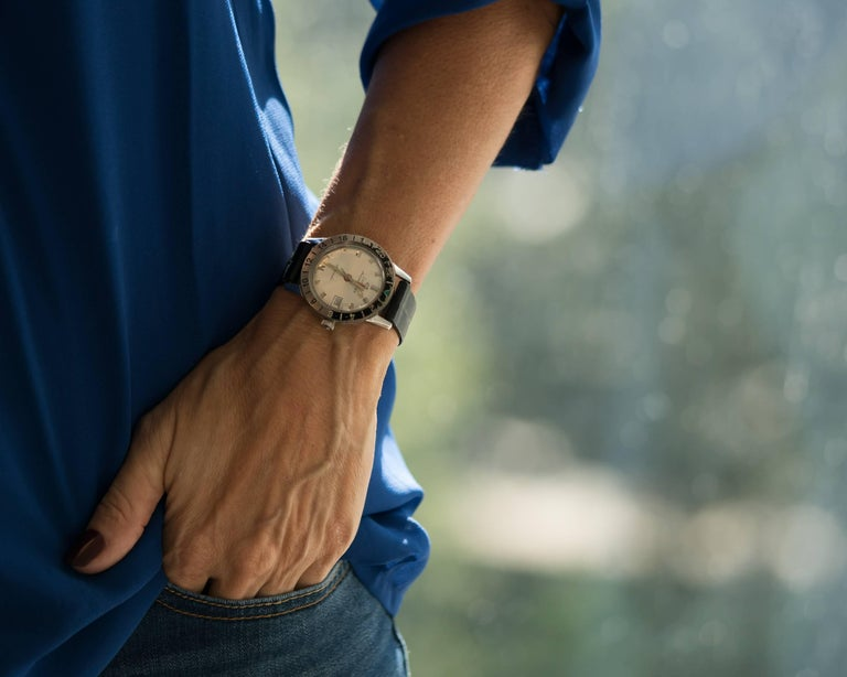 1950s Zodiac Aerospace GMT Stainless Steel Wristwatch For Sale 3