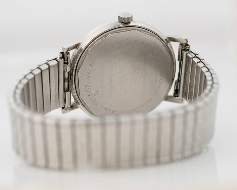 1950s Zodiac Custom Stainless Steel Wrist Watch In Good Condition For Sale In New York, NY