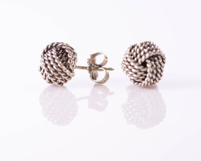 Modern Tiffany & Co. Sterling Silver Twist Knot Earrings For Sale
