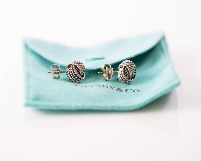 Tiffany & Co. Sterling Silver Twist Knot Earrings In Good Condition For Sale In New York, NY