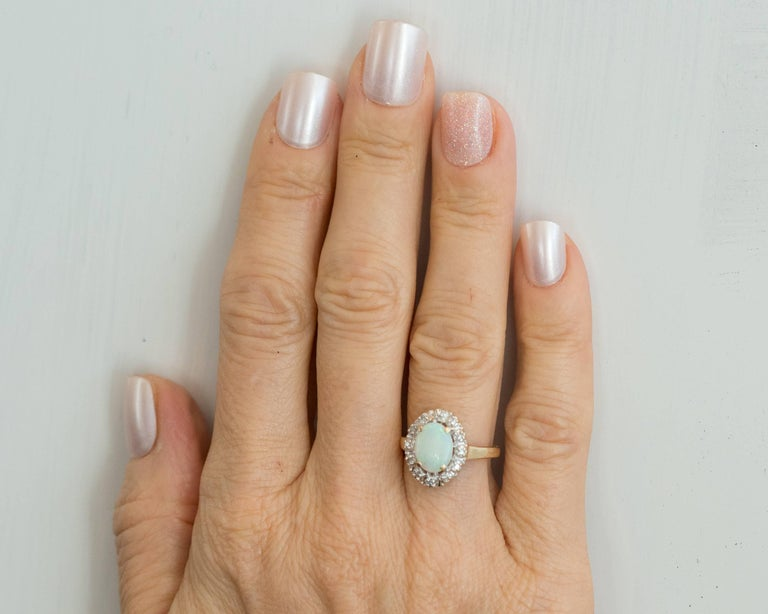 1960s Opal and Diamond Halo 14 Karat Yellow Gold Ring For Sale 2